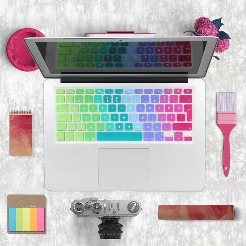 Gradient Keyboard Cover үшін Түркия MacBook Air 13 Pro 13 15 Retina Silikon Түрік Еуро Keyboard Stickers енгізіңіз
