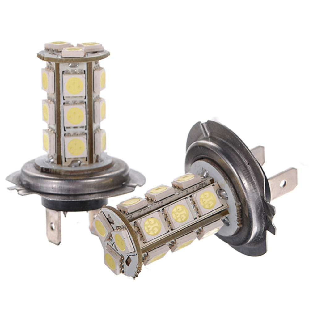 1pcs H7 5050 18 SMD 12V LED WhiteCar Auto Fog Driving Day Time Head Light Lamp Bulbs High brightness Car accessories Universal h7 white ice blue red amber yellow pink purple green 5630 33 smd 33led auto car fog driving light lamp bulbs 12v