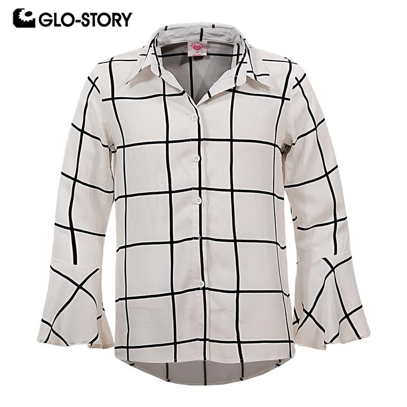 GLO-STORY Girls Ruffle Long Sleeve Paid Blouse Shirts Menino Teens Kids Clothes GCS-6195