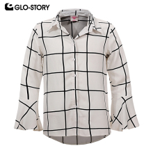 GLO-STORY Girls Ruffle Long Sleeve Paid Blouse Shirts Menino Teens Kids Clothes GCS-6195