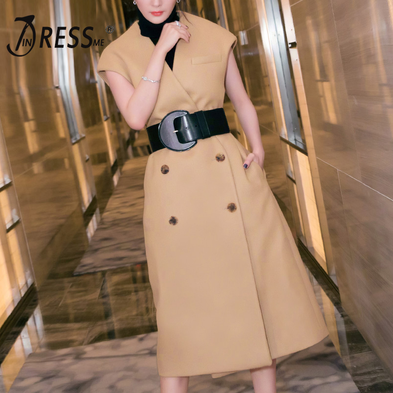 INDRESSME Casual Streetwear Women Lady Long   Trench   Sexy Deep V Sleeveless Double Breasted Fashion Women Coat Clearance 2018