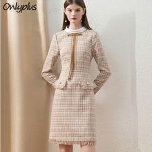 Onlyplus Khaki Tweed Winter Dress Office Fashion Custom Midi Ladies Dress Long Sleeve Chic Plaid Thick lady of quality Dress
