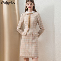 Onlyplus Khaki Tweed Winter Dress Office Fashion Custom Midi Ladies Dress Long Sleeve Chic Plaid Thick lady of quality Dress