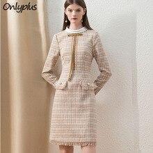 Onlyplus الكاكي تويد فستان الشتاء مكتب الموضة مخصص ميدي السيدات فستان طويل الأكمام شيك منقوشة سميكة سيدة من جودة اللباس