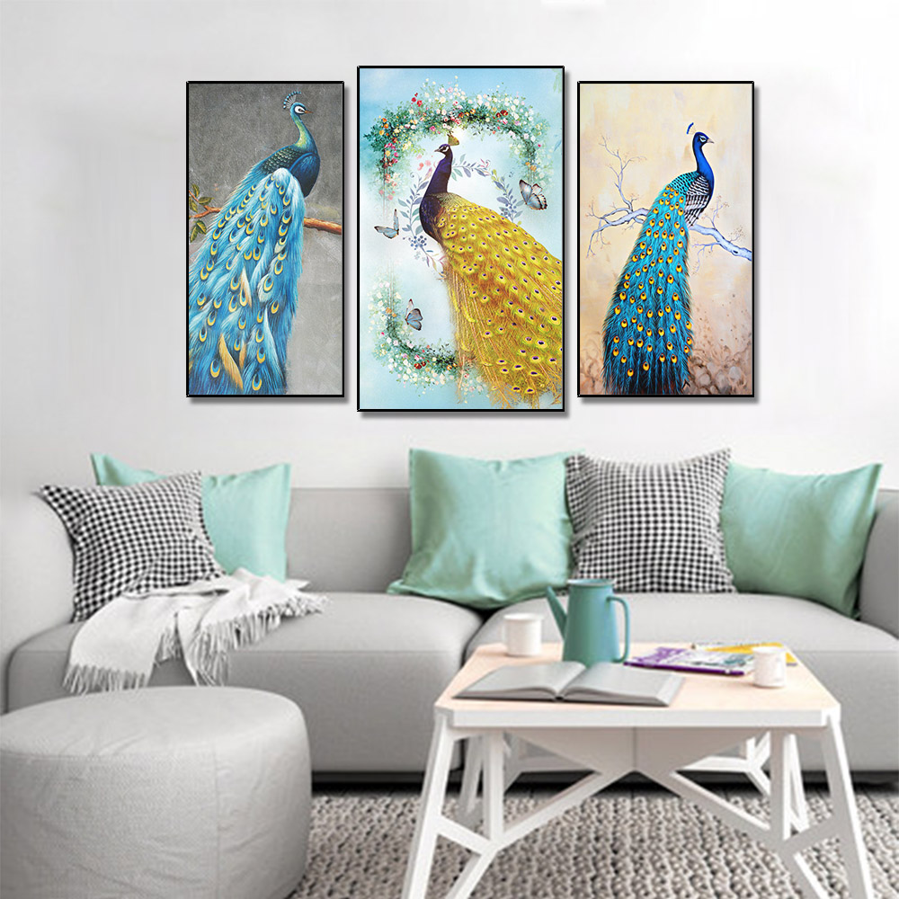 Unframed 3 HD Canvas Prints Peacock Golden Feathers Giclee Wall Decor For Living Room Decoration Mural Module Art Spray Painting