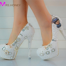 Fashion Custom Made Pearls Lady's Formal Shoes Women's High Heels Bridal Evening Prom Party Wedding Dress Bridesmaid Shoes