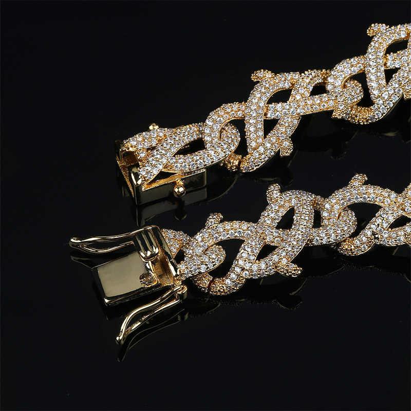 TOPGRILLZ mężczyzn cyrkon korona cierniowa kubański Link bransoletka Hip hop biżuteria złoto srebro grube ciężkie miedzi materiał mrożona CZ łańcuch