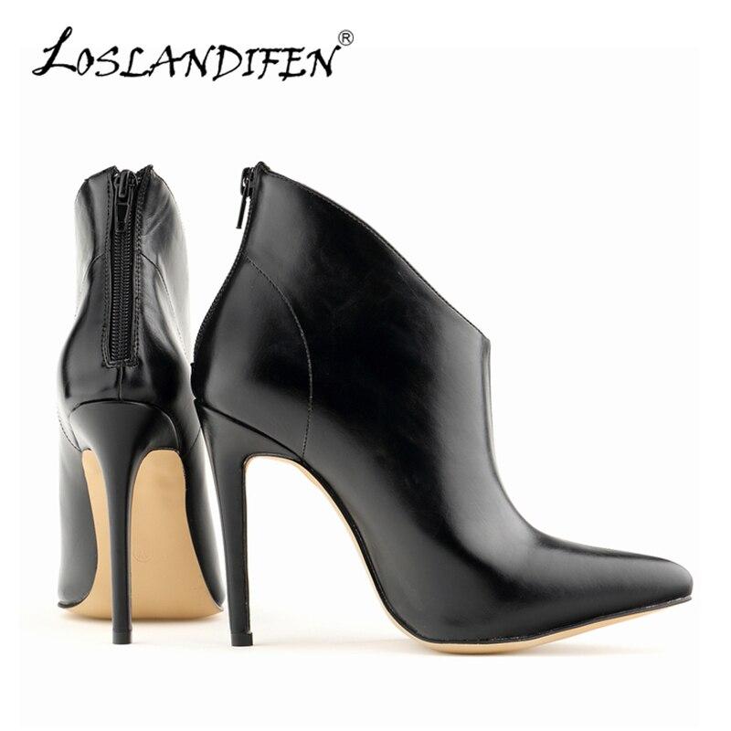 Loslandifen Новые женские зимние сапоги из искусственной кожи на платформе острый носок ботильоны для Для женщин на высоком каблуке обувь на шпи...