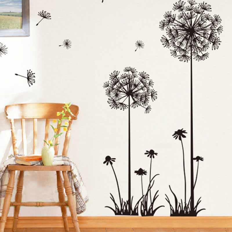 Plant Black Dandelion Sitting Room Bedroom Wall Stickers Household Adornment Wall Stickers on the Wall Home Room Decor adesivo