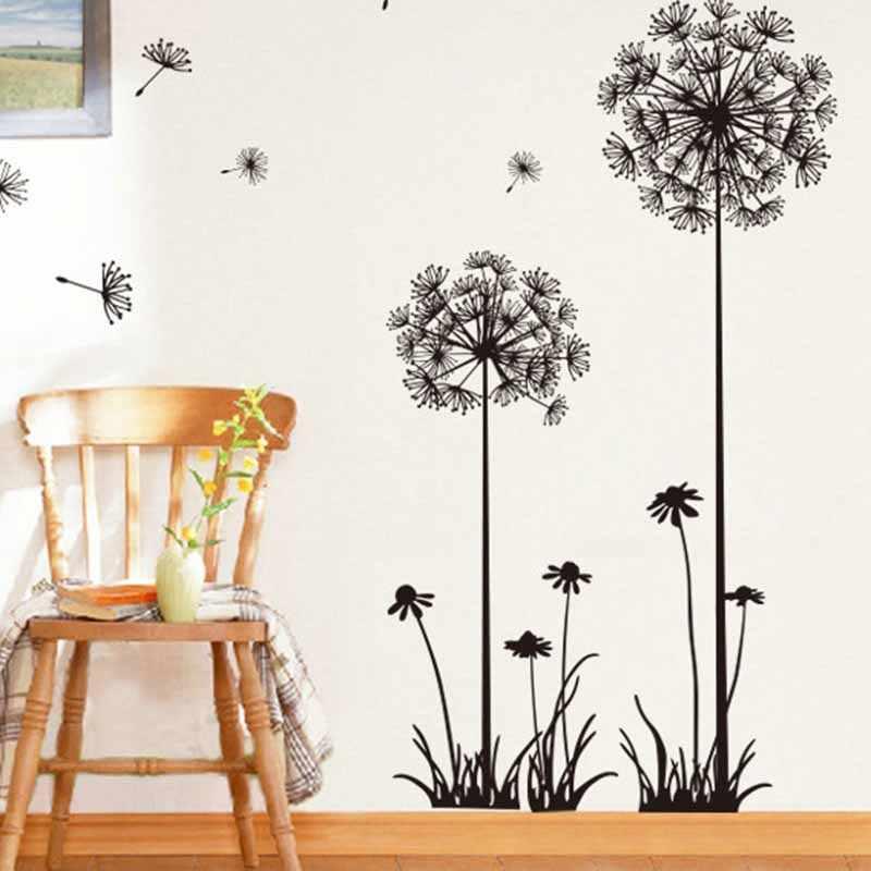 النبات الأسود الهندباء غرفة الجلوس غرفة نوم ملصقات جدار الزينة المنزلية ملصقات جدار على الحائط ديكور غرفة المنزل adisevo