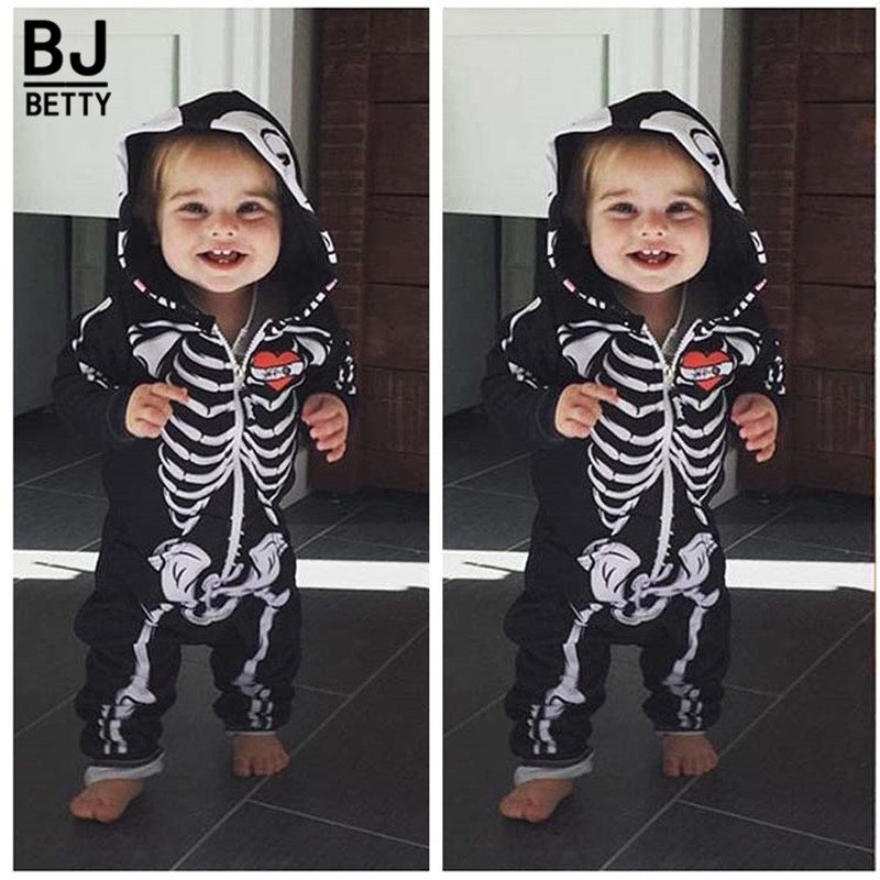 Halloween Newborn Baby Boy Girl Kids Newborn Skeleton   Rompers   Long Sleeve Jumpsuit Clothes Outfit Costume cosplay BBR201