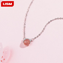 925 Sterling Silver Cute Cat Natural Strawberry Crystal Pendant Necklace For Women Short clavicle chain Necklaces