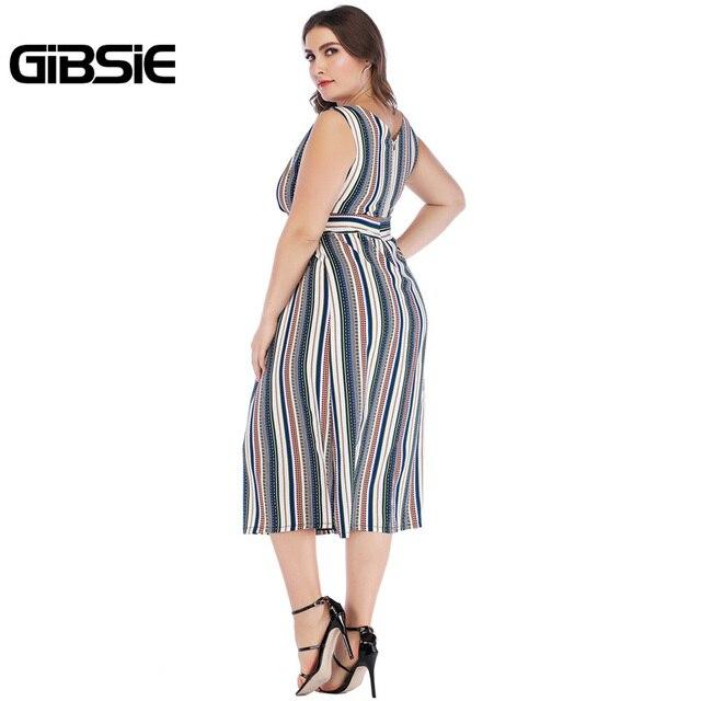 GIBSIE Sexy Wrap V Neck Striped Long Dress 5xl 4xl 3xl Summer Women Plus Size Dresses Female Sleeveless High Waist A Line Dress 2