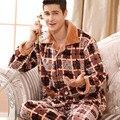 2016 Sexy Pijamas Masculinos de Los Hombres En El Invierno De Los Nuevos Hombres de Manga larga Pijama Traje de Terciopelo de Coral Gruesa Masculina Equipamiento Casero de Celosía