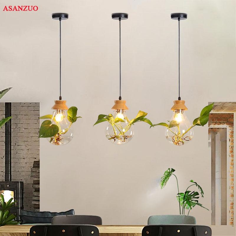 Modern Plant Pendant Light Wood Glass Bottle Decor Restaurant Bar Cafe Living Room Study Lighting LED Pendant Hang Lamp