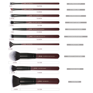 Image 5 - Jessup borstels 10pcs Plum/Zwarte Make Up kwasten set beauty Make up borstel Concealer & 1PC Cosmetische tas vrouwen