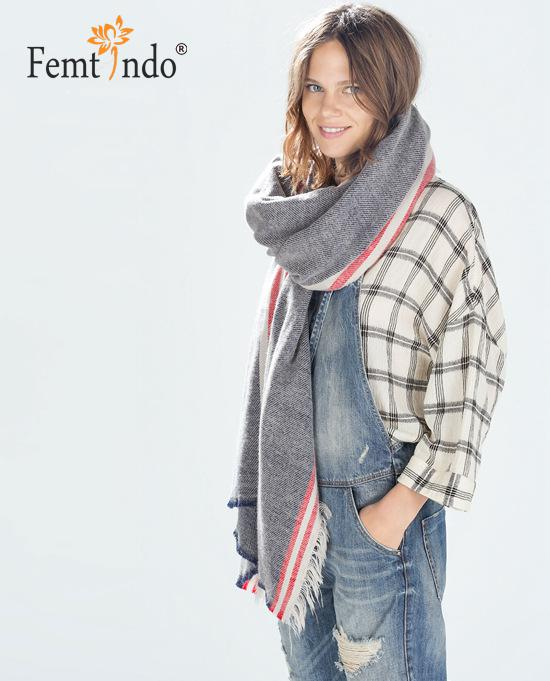 New Winter Autume font b Tartan b font Rectangle Check Large Scarf Shawl Pashmina Stole Square
