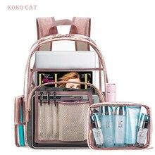 8aa2b9c983aee Temizle Şeffaf Su Geçirmez Pvc Plaj Çantası Sırt Çantası Seti Kadın Bagpack  Birincil Mini Schoolbag için