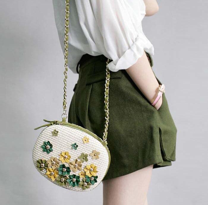ФОТО Fresh Style Girl's Messenger Bags Flowers Woven Women Shoulder Bags Leather Fashion Cute Mini Lady Zipper Stunning Crossbody Bag