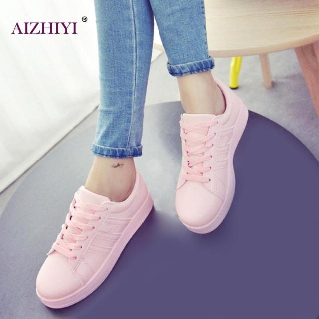 Women Simple Fshion Casual Shoes Girls Summer Leather Casual Pure Color  Footwear Flats Lace Up Shoes