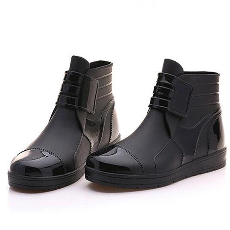 18 2 En Bottes Pluie De Pvc Anti Imperméable Chaussures Unisexe niveau Caoutchouc 1 Cheville Fond Hommes rqTrZP