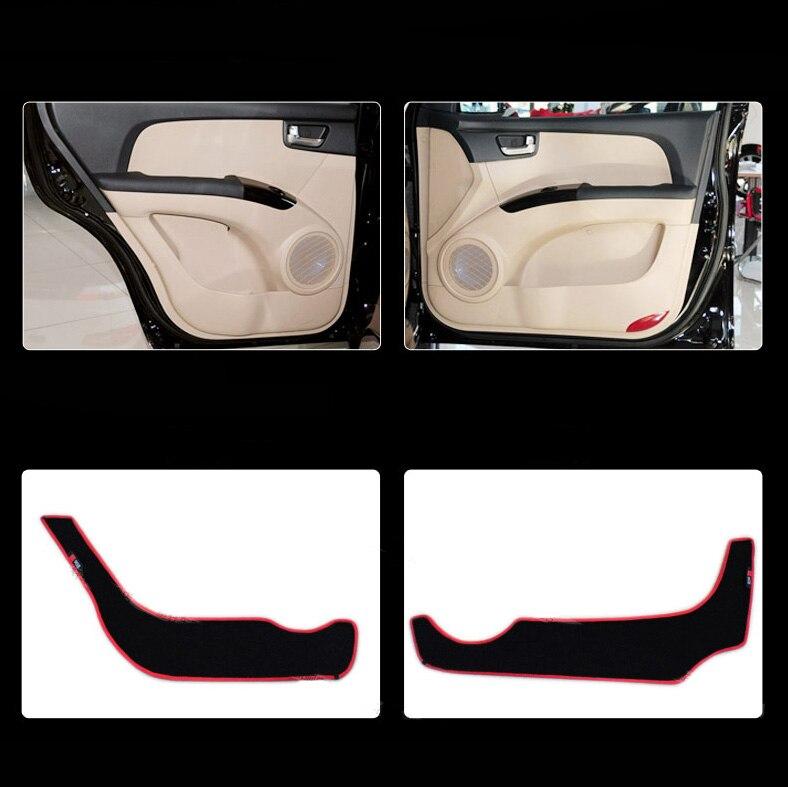 Ipoboo 4pcs Fabric Door Protection Mats Anti-kick Decorative Pads For Kia Sportage ipoboo 4pcs fabric door protection mats anti kick decorative pads for hyundai elantra 2012 2015