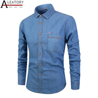 ALEATORY 2019 Men's casual jeans denim shirts long sleeve cotton dress shirt men reserved aramy embroidery camisa top clothing
