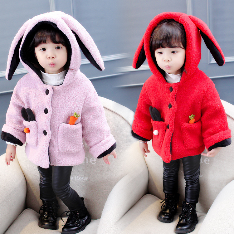 265aad7c8e6 Image ViGarBear Korean version of children s coat 2017 new style pure color  rabbit radish pocket. Category: Children's Clothing