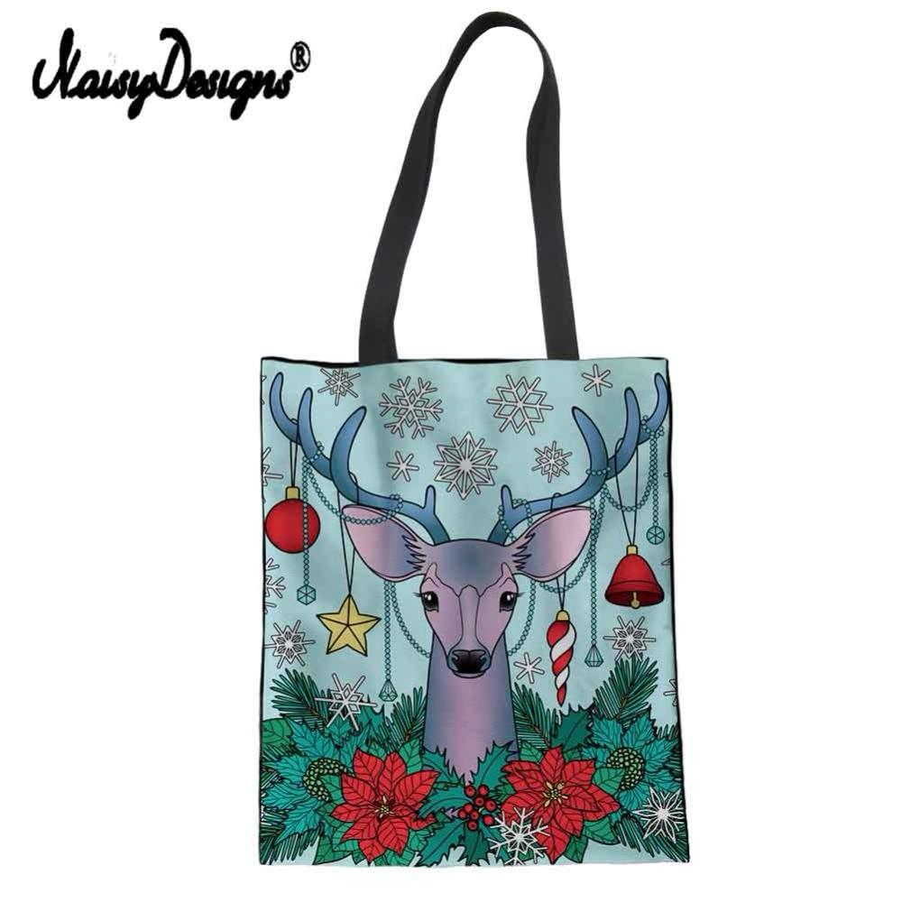 Merry Christmas Moose Print Women Foldable Shopping Bag Handbags Tote Bags Reusable Eco-friendly Cotton Large bag Elk Deer tote bag