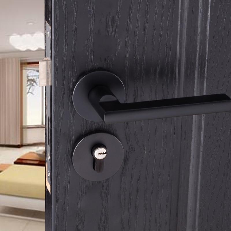Noir Espace En Aluminium Poli Porte Poignées & Lock Devant Dos Levier Casier Cylindre Double Loquet Avec Clé Modernisé Simple Poignée