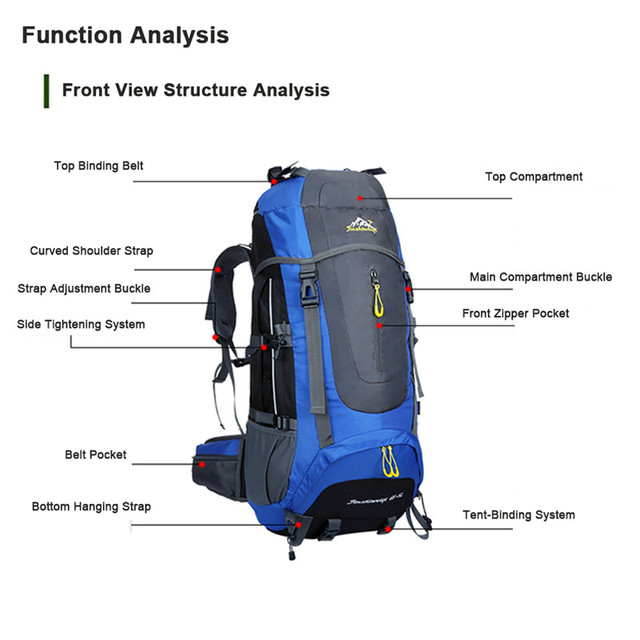 70L Waterproof camping hiking Climbing Waterproof Mountaineering Backpack Outdoor Travel Bags Hiking Backpack 5 Colors