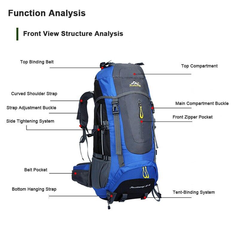 Mochila de senderismo impermeable de 70 L para senderismo, escalada, montañismo, mochila de viaje al aire libre, mochila de senderismo de 5 colores - 3