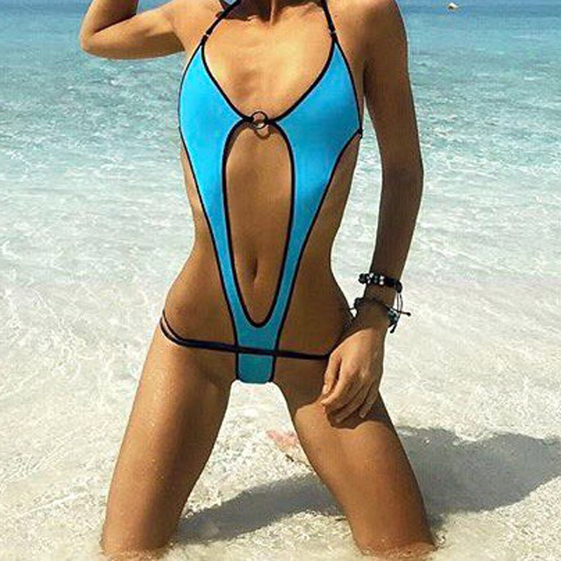Sexy Exotic Blue Women Micro Monokini Slingshot One piece Swimsuit Beach G-String Swim Costumes Lingerie Set Swimwear Female one piece swimsuits trikinis high cut thong swimsuit sexy strappy monokini swim suits high quality denim women s sports swimwear