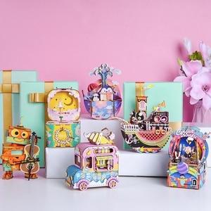 Image 4 - Robotime DIY Wooden Music Box Merry Go Round Carousel Birthday Gift Present For Children Girlfriend Women