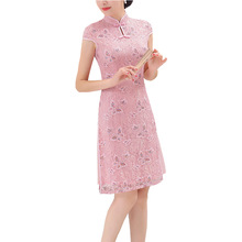 Chinese Lace Cheongsam Women Mini Dress Size S-2XL