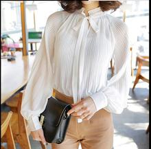 2019 Spring Long Lantern Sleeve Bow Tie Chiffon Shirts Women Casual Loose Pleated Blouses Tops