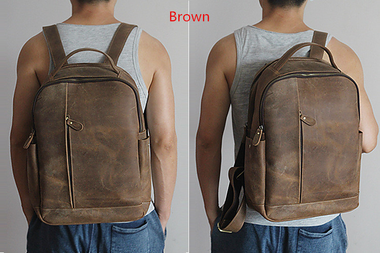 Men 100% Genuine Leather Laptop Backpacks Male Vintage Casual Backpacks Men's Travel Holder 14inch 15.6inch Computer School Bags 2