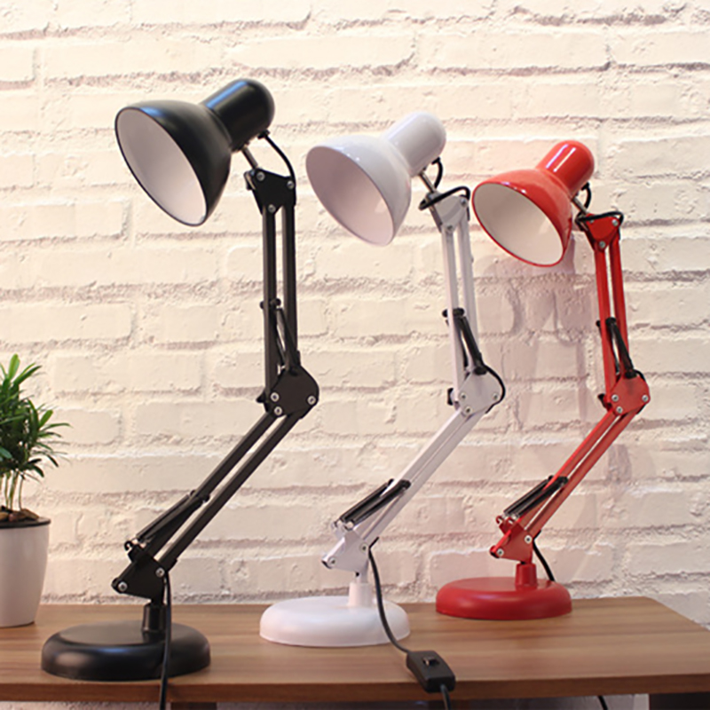 Long Swing Arm adjustable classic balck/white/red desk Lamps E27 LED with switch Table Lamp for Office Reading night bedside long swing arm adjustable classic desk lamps e27 led with switch table lamp for office reading night light bedside home