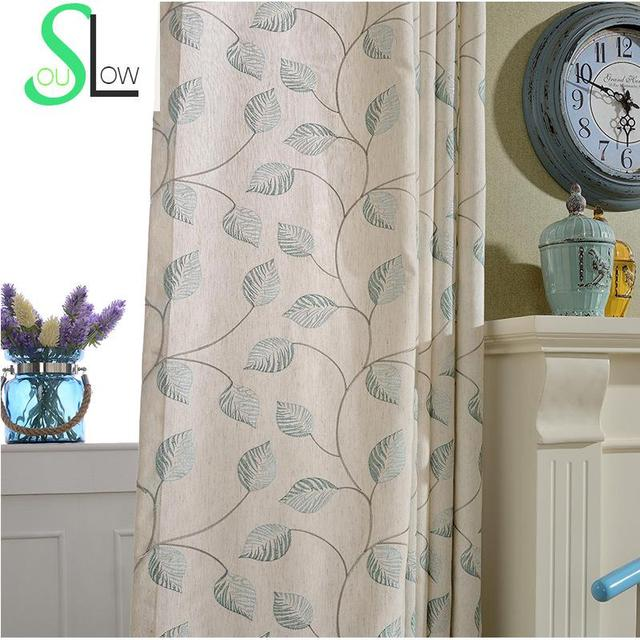 Langsam Seele Braun Grün Baumwolle Blume Stickerei Vorhänge Gute Qualität  Vorhang Blätter Für Wohnzimmer Tüll Küche