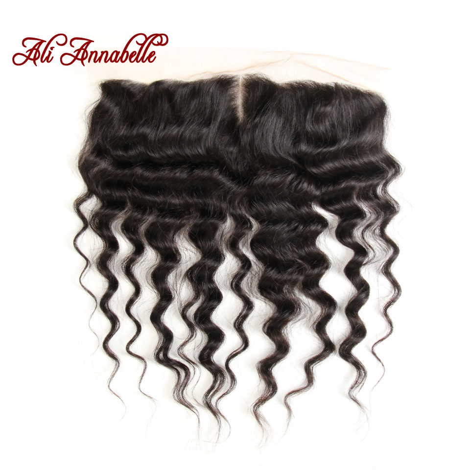 ALI ANNABELLE HAIR Brazilian Loose Wave With Lace Frontal 3 Bundles Brazilian Human Hair with Closure 100% Remy Hair