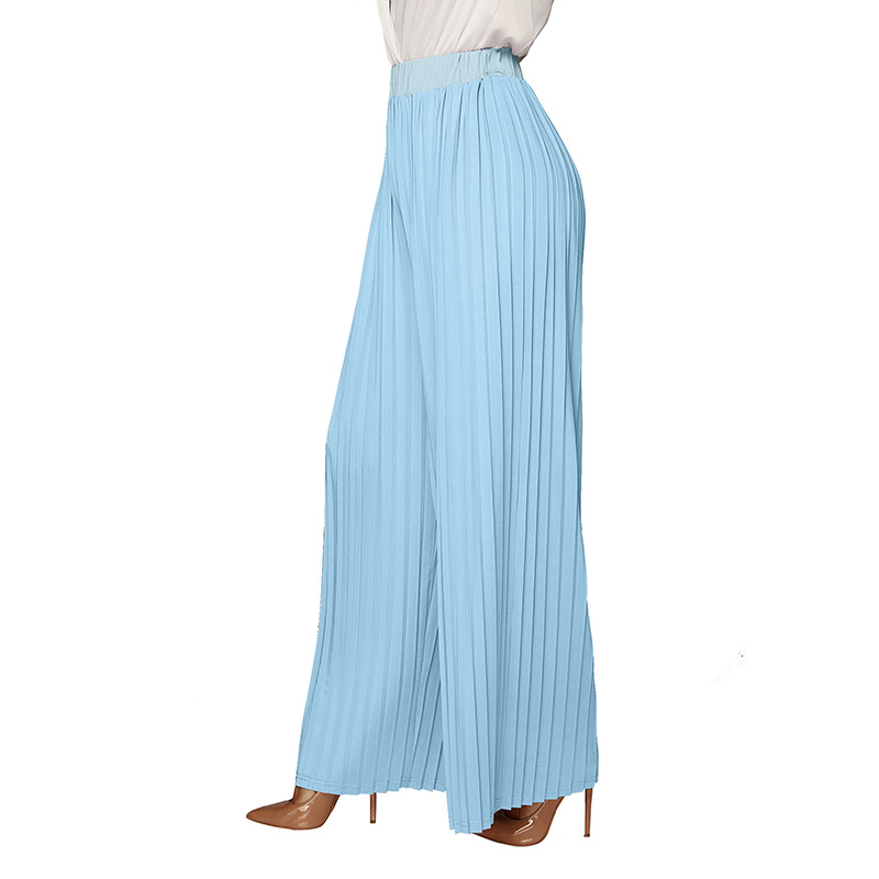 Women Spring   Wide     Leg     Pants   Pleated Lady Causal Elastic High Waist Straight Beach Leisure Trouser Loose Blue Black Palazzo   Pants