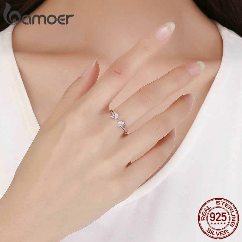 BAMOER Новая коллекция 100% 925 пробы Серебряное кольцо для женщин с изображением животных, собак, кошек, следов, обручальное ювелирное изделие SCR366