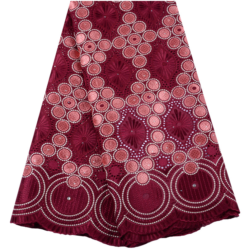 African Dry Lace Fabric Swiss Voile Lace With Stones High Quality 2019 Wine Color Nigerian Cotton