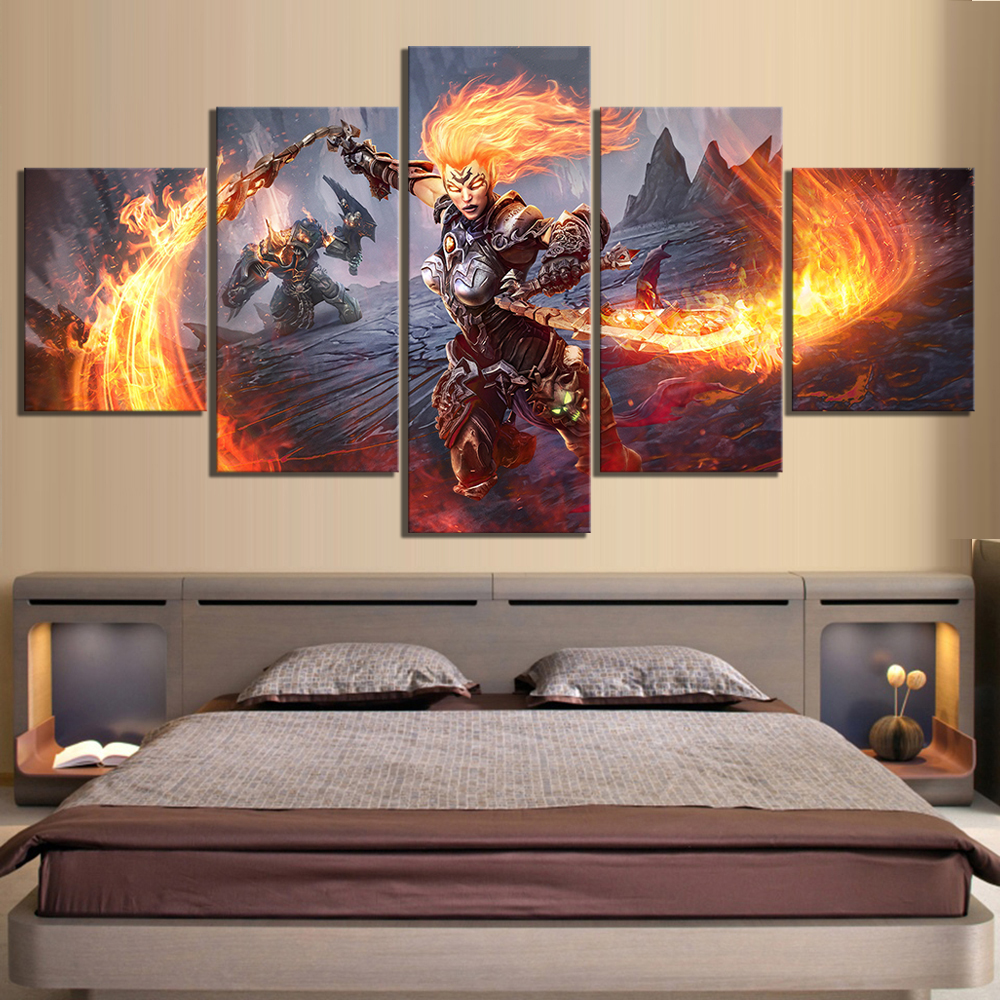 5 Piece HD Pictures Darksiders 3 Game Poster Artwork Canvas Painting Wall Art for Home Decor
