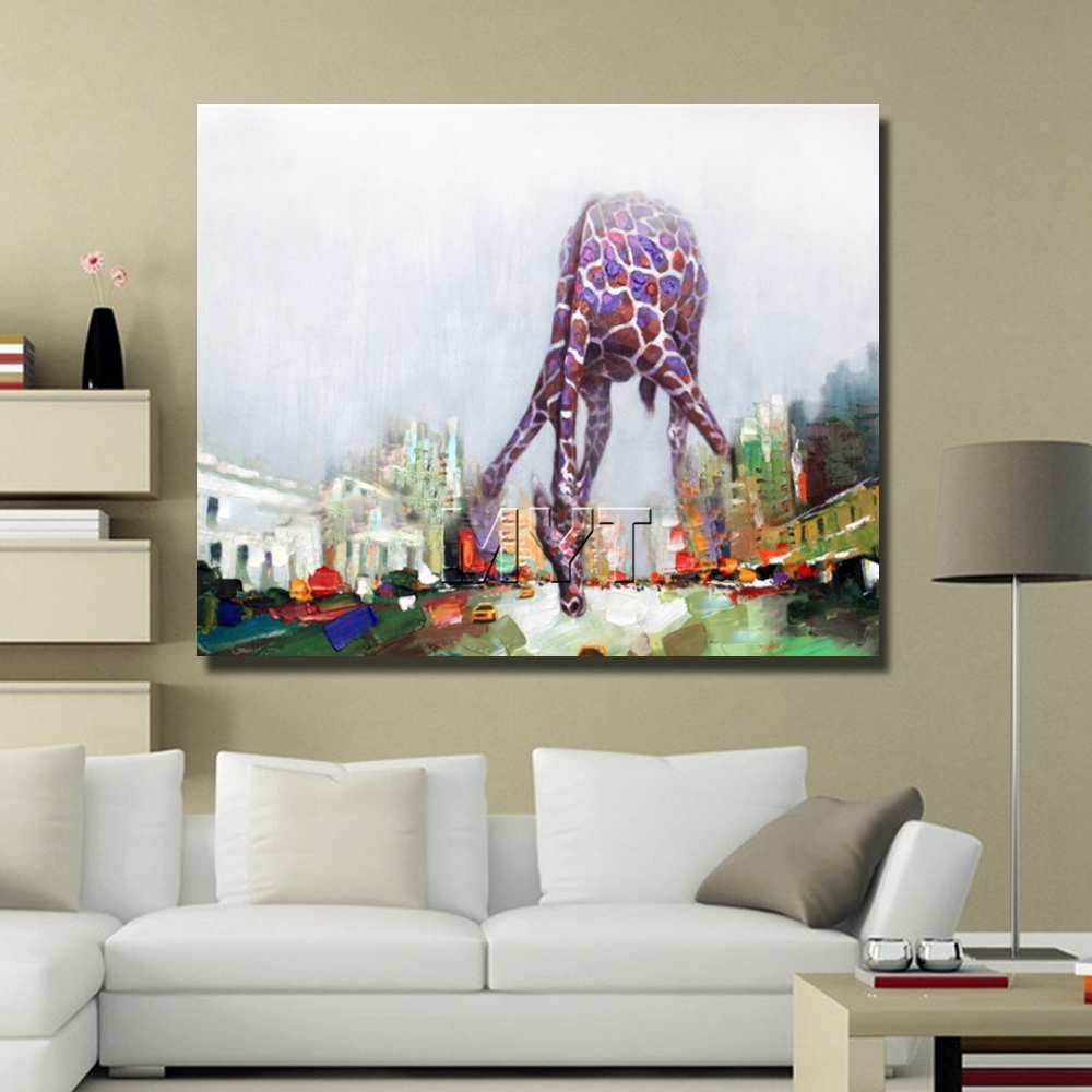 Giraffe abstract cartoon animal picture oil painting hand drawing abstract animal home goods oil painting free shipping  1