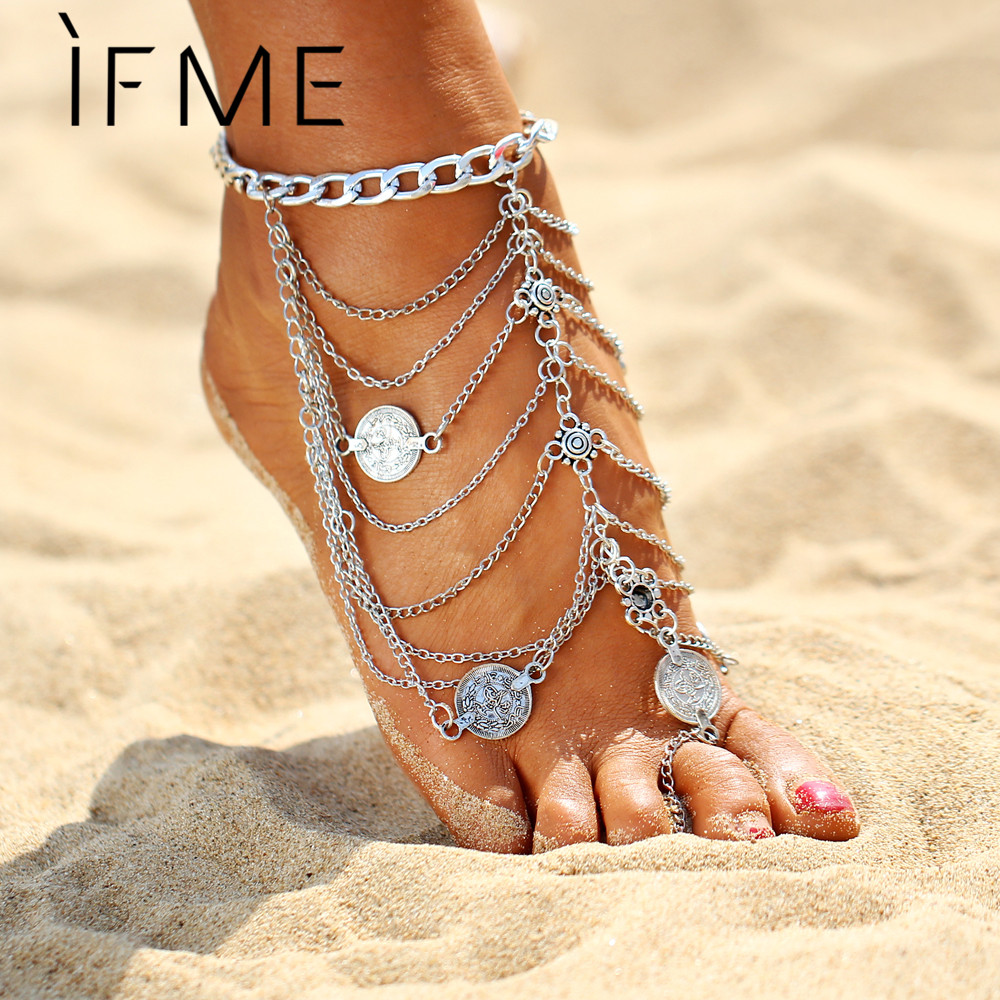 IF ME 2017 New Bohemia Multi-layer Coin Tassel Chain Anklet Metal Fashion ankle bracelet Antique Silver Color Jewelry Gift
