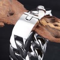 Hip Hop Jewelry Men 316L Stainless Steel Silver Cuban Link Chain Bracelet Mens Heavy Metal Harley Chain Huge Bracelet & Bangle