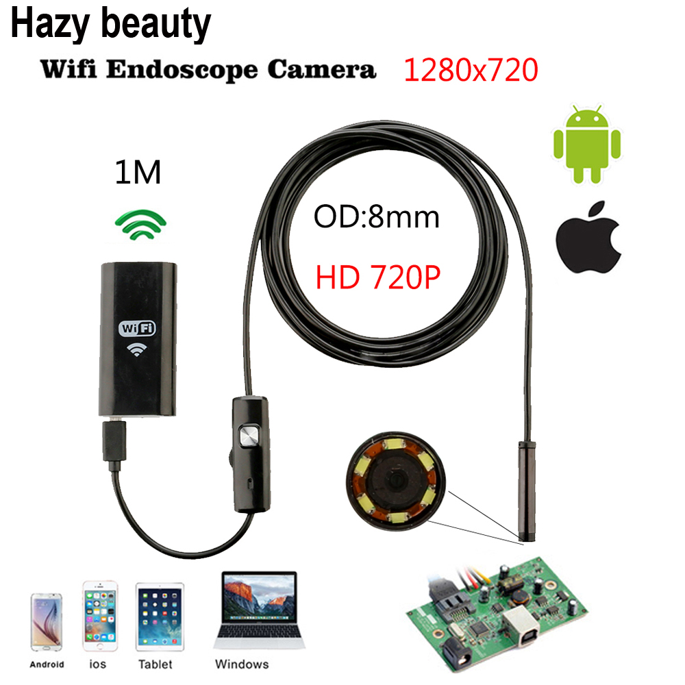 Hazy beauty 8mm Wifi Android IOS Endoscope Camera 1M 2M Waterproof Snake Tube Pipe Borescope 720P For Iphone Camera Endoscope детская игрушка new wifi ios
