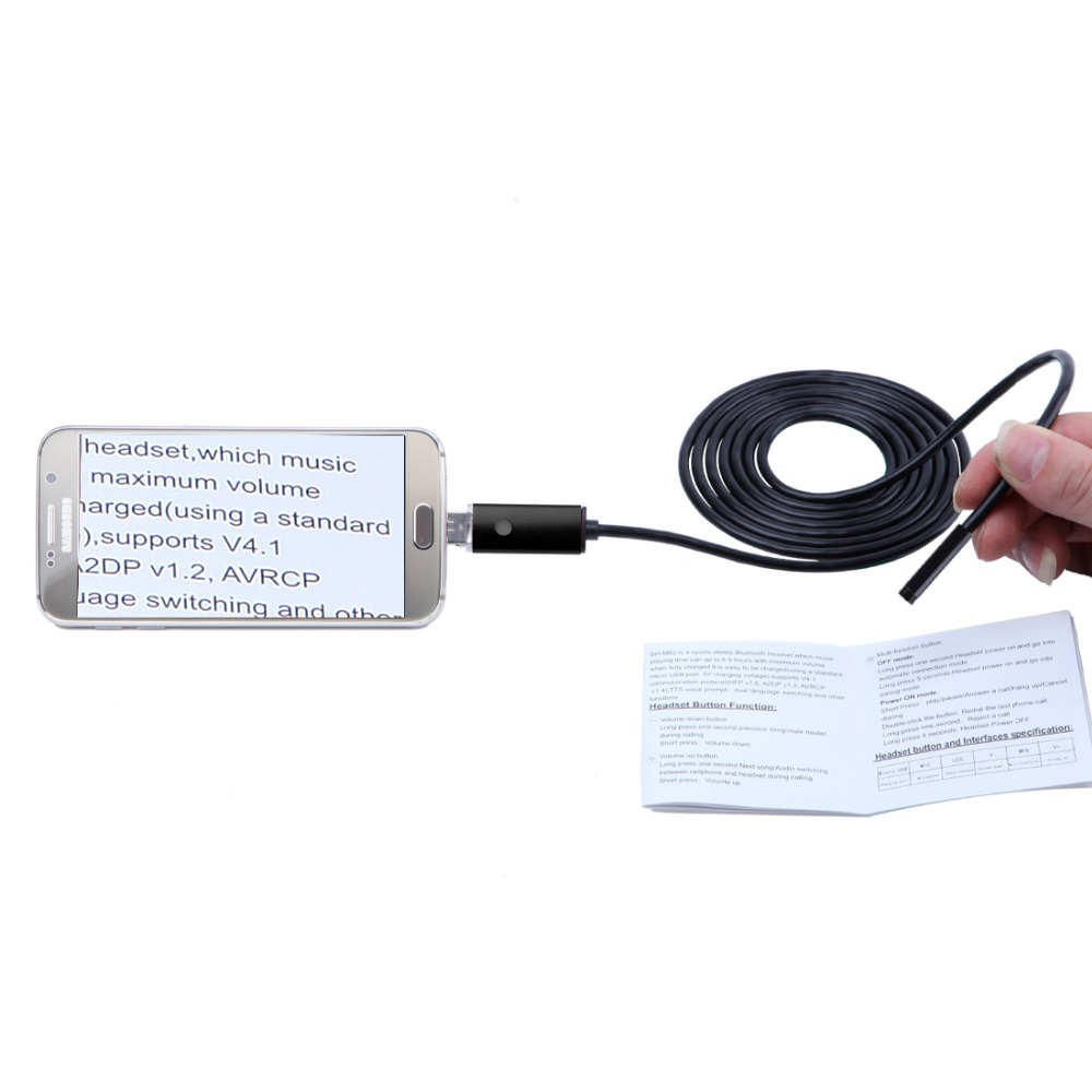 2in1 8mm Mini Endoscope Waterproof Borescope Inspection Camera For PC Android