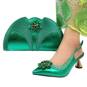 Image 2 - Zapatos italianos de moda de color púrpura con bolso de mano a juego, gran boda africana con Sandalias de tacón alto y conjunto de bolsos